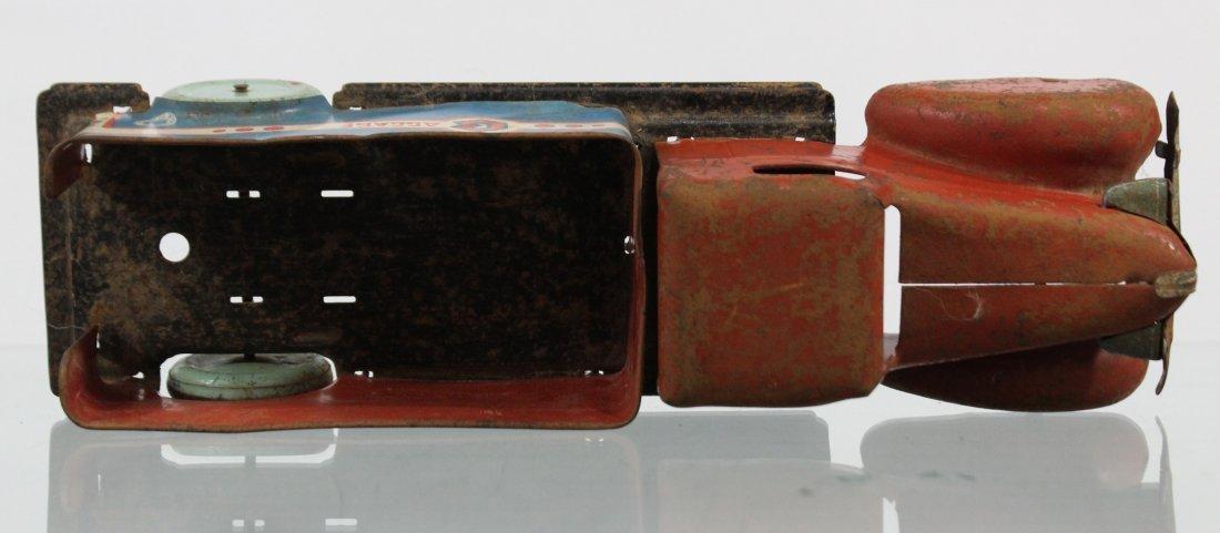 Antique PRESSED STEEL BAGGAGE TRUCK Red Blue - 6