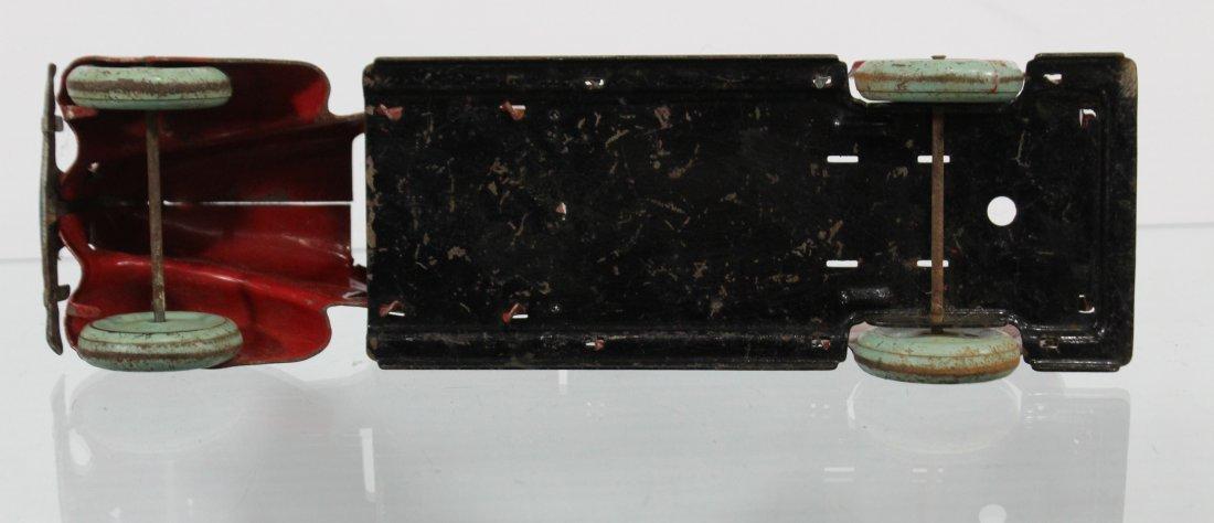 Antique PRESSED STEEL BAGGAGE TRUCK Red Blue - 7
