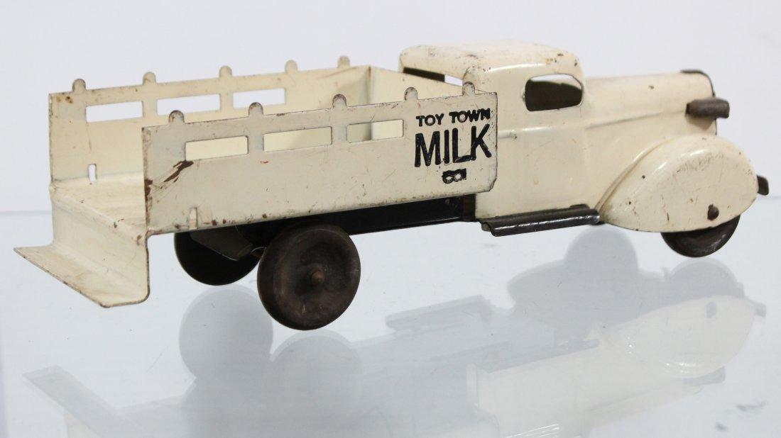 Antique PRESSED STEEL TOY TOWN MILK TRUCK White - 4