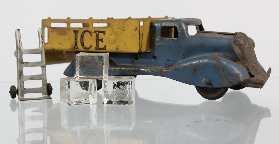 Antique PRESSED STEEL ICE TRUCK WITH ACCESSORIES