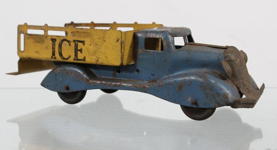 Antique PRESSED STEEL ICE TRUCK WITH ACCESSORIES - 2