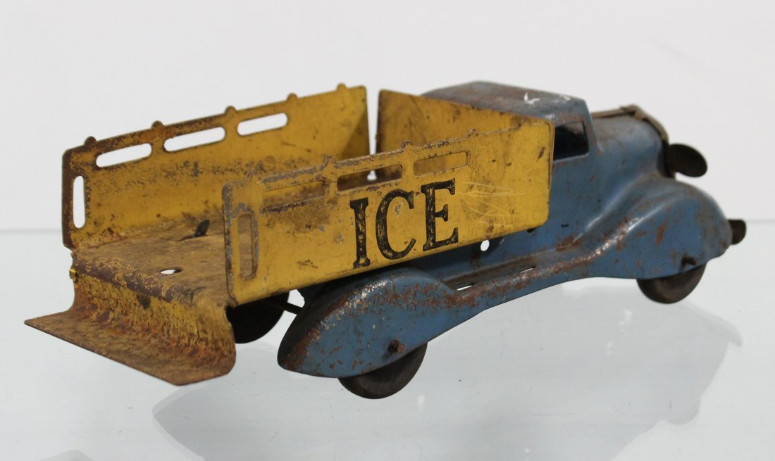 Antique PRESSED STEEL ICE TRUCK WITH ACCESSORIES - 7