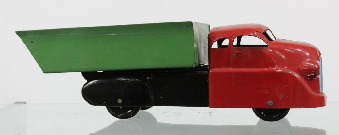 Antique PRESSED STEEL DUMP TRUCK Red Green