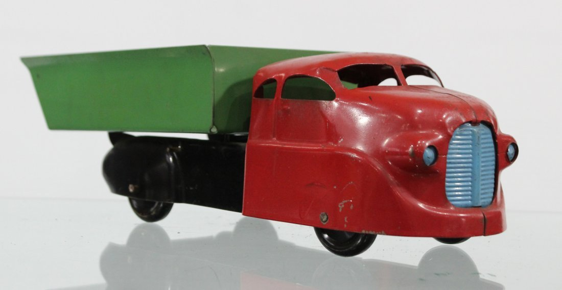 Antique PRESSED STEEL DUMP TRUCK Red Green - 2