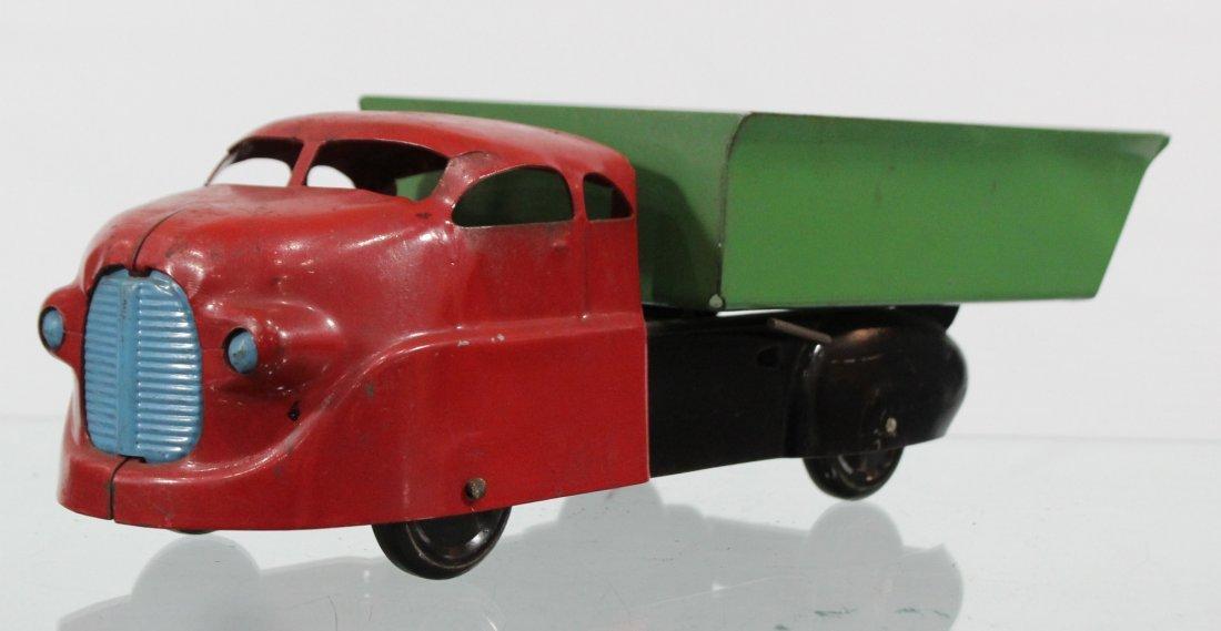 Antique PRESSED STEEL DUMP TRUCK Red Green - 3
