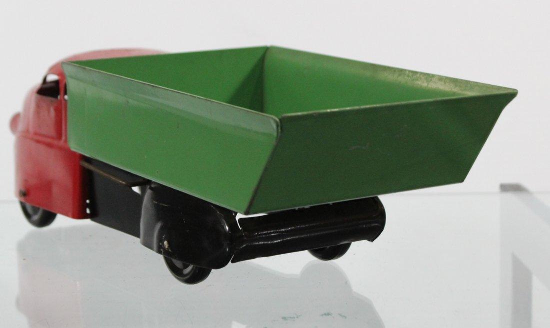 Antique PRESSED STEEL DUMP TRUCK Red Green - 5