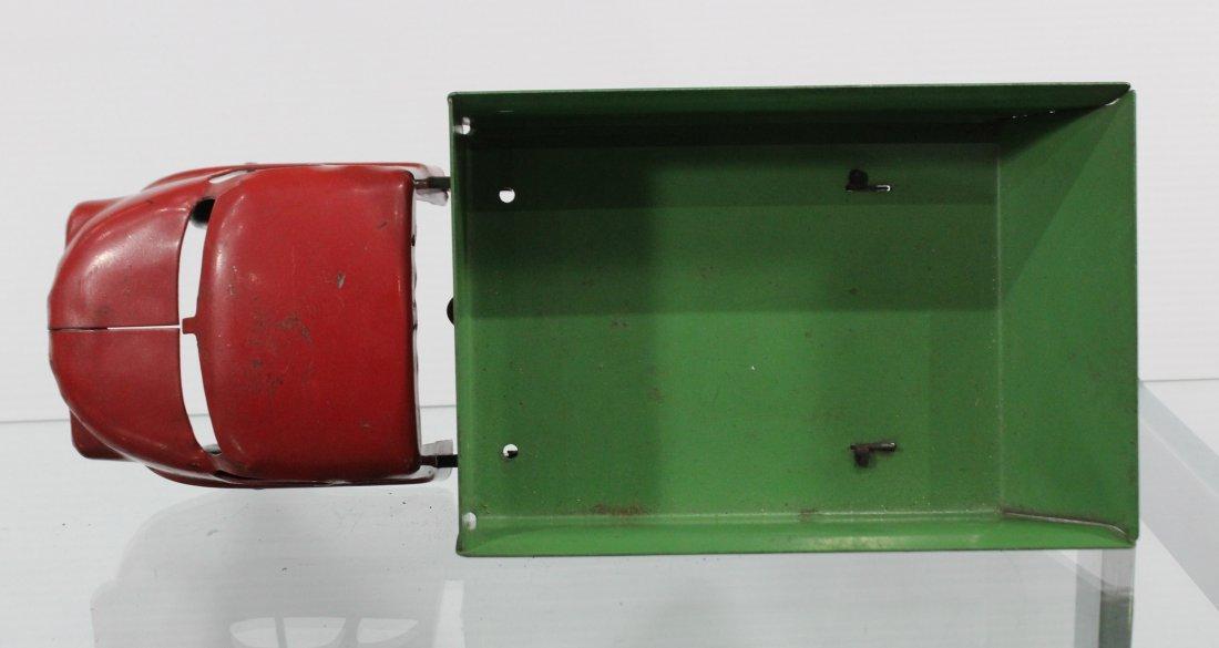 Antique PRESSED STEEL DUMP TRUCK Red Green - 6