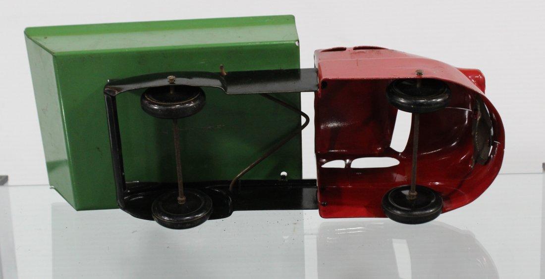 Antique PRESSED STEEL DUMP TRUCK Red Green - 7