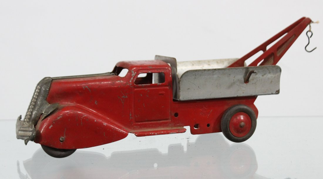Antique PRESSED STEEL WRECKER TRUCK Red Silver