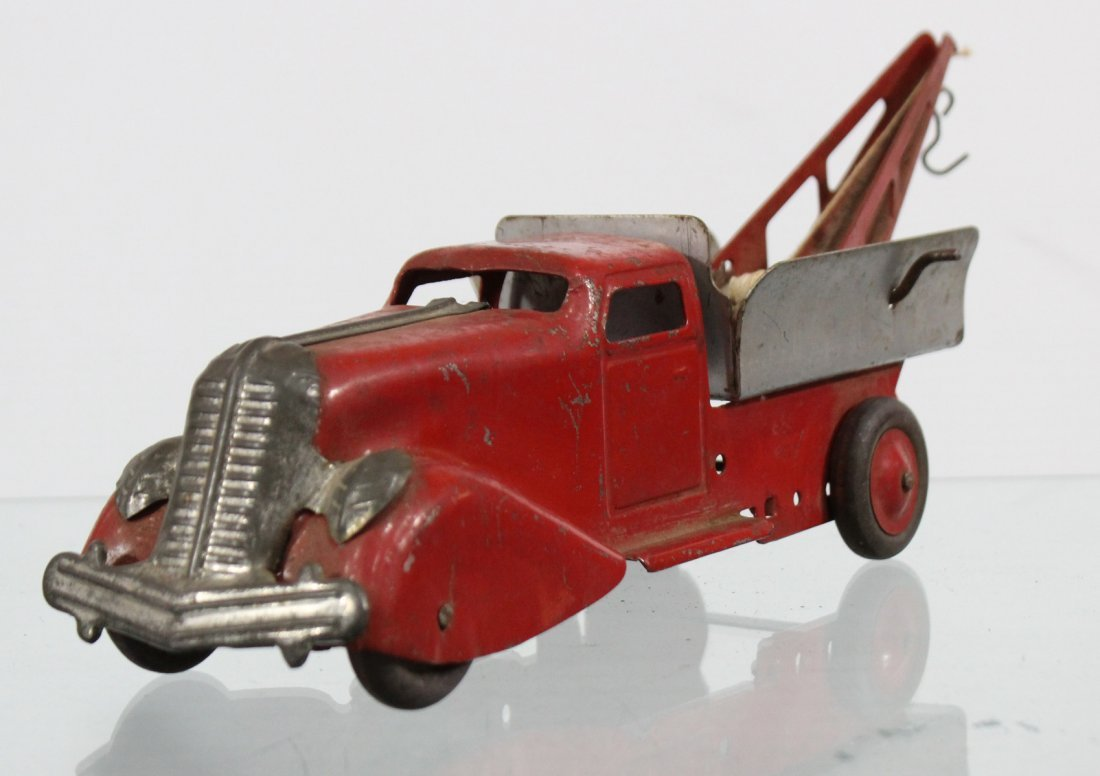 Antique PRESSED STEEL WRECKER TRUCK Red Silver - 2