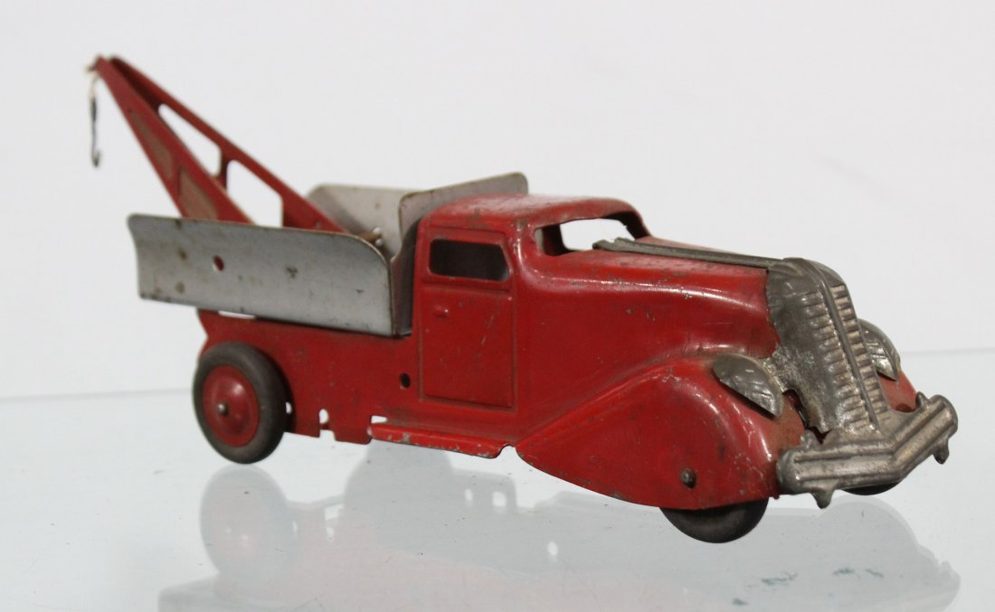 Antique PRESSED STEEL WRECKER TRUCK Red Silver - 3
