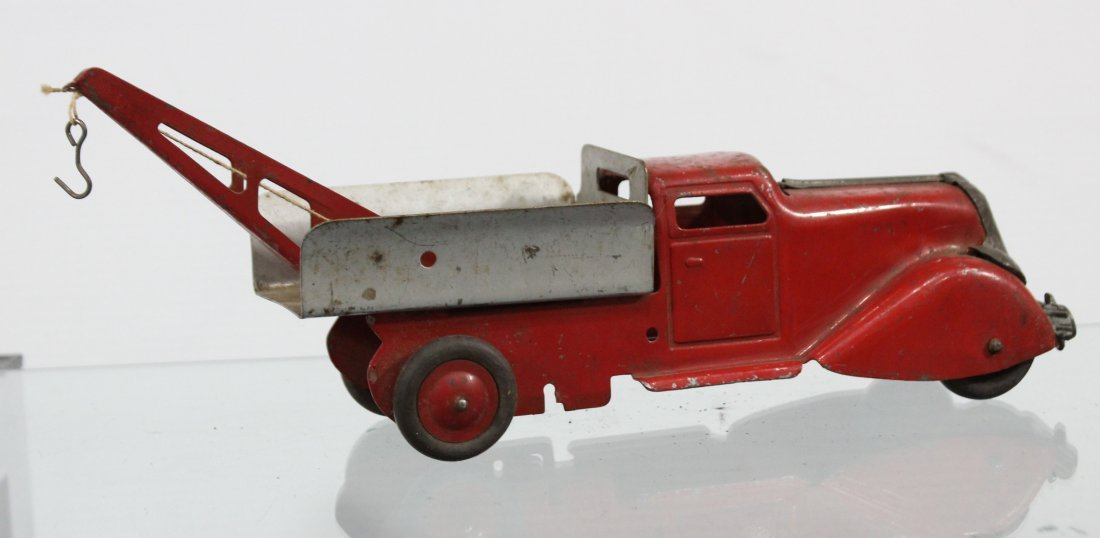 Antique PRESSED STEEL WRECKER TRUCK Red Silver - 4