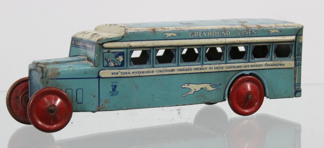 Antique GREYHOUND LINES TIN LITHO BUS