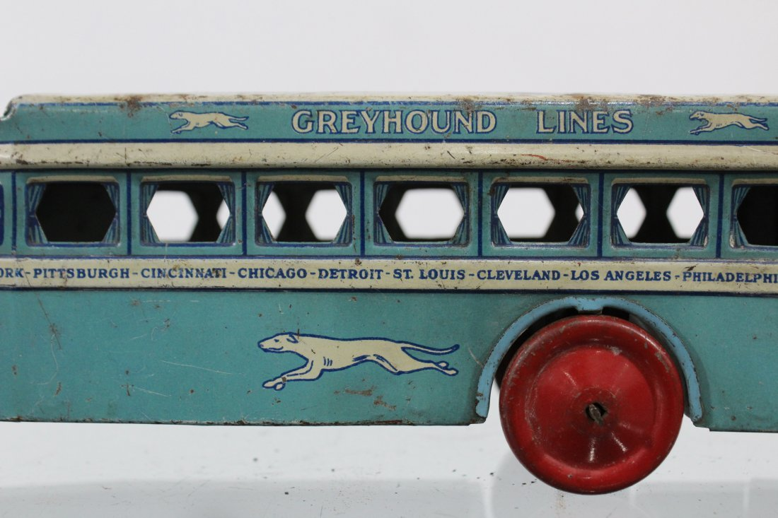 Antique GREYHOUND LINES TIN LITHO BUS - 2