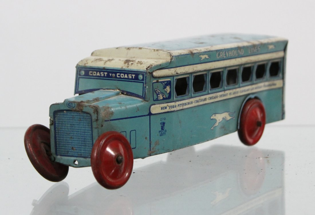 Antique GREYHOUND LINES TIN LITHO BUS - 3