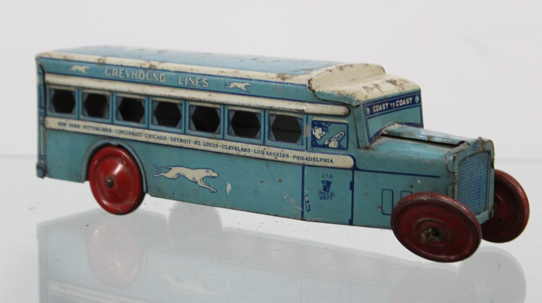 Antique GREYHOUND LINES TIN LITHO BUS - 4