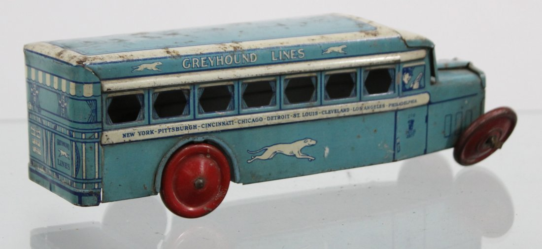 Antique GREYHOUND LINES TIN LITHO BUS - 5