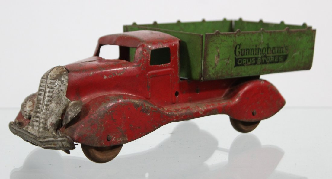 Antique CUNNINGHAM'S DRUG STORE PRESSED STEEL TRUCK - 2