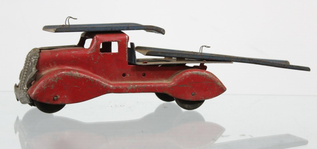 Antique PRESSED STEEL CAR CARRIER TRUCK Red