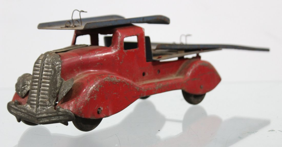 Antique PRESSED STEEL CAR CARRIER TRUCK Red - 2