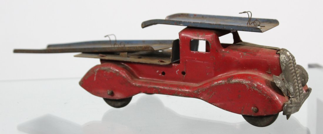 Antique PRESSED STEEL CAR CARRIER TRUCK Red - 4