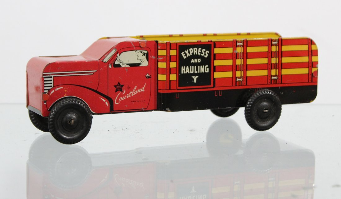 Antique COURTLAND EXPRESS AND HAULING TIN LITHO TRUCK