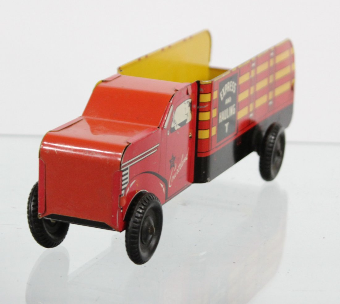 Antique COURTLAND EXPRESS AND HAULING TIN LITHO TRUCK - 2