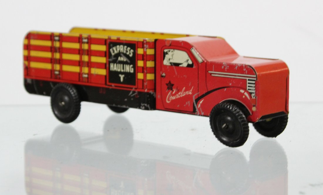 Antique COURTLAND EXPRESS AND HAULING TIN LITHO TRUCK - 3
