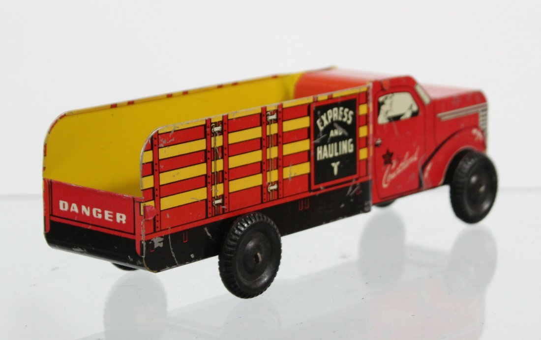 Antique COURTLAND EXPRESS AND HAULING TIN LITHO TRUCK - 4