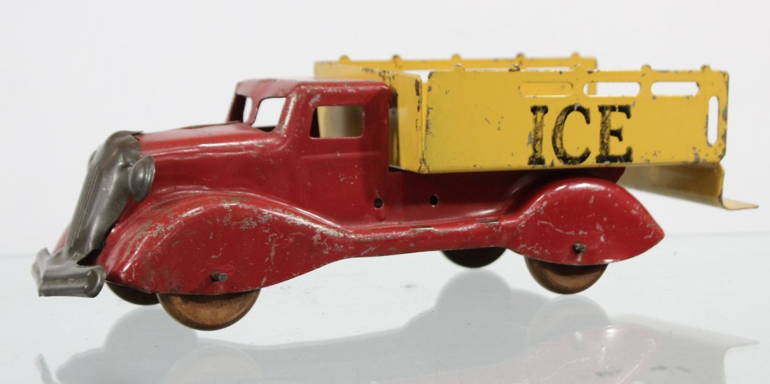Antique PRESSED STEEL ICE TRUCK Red Yellow
