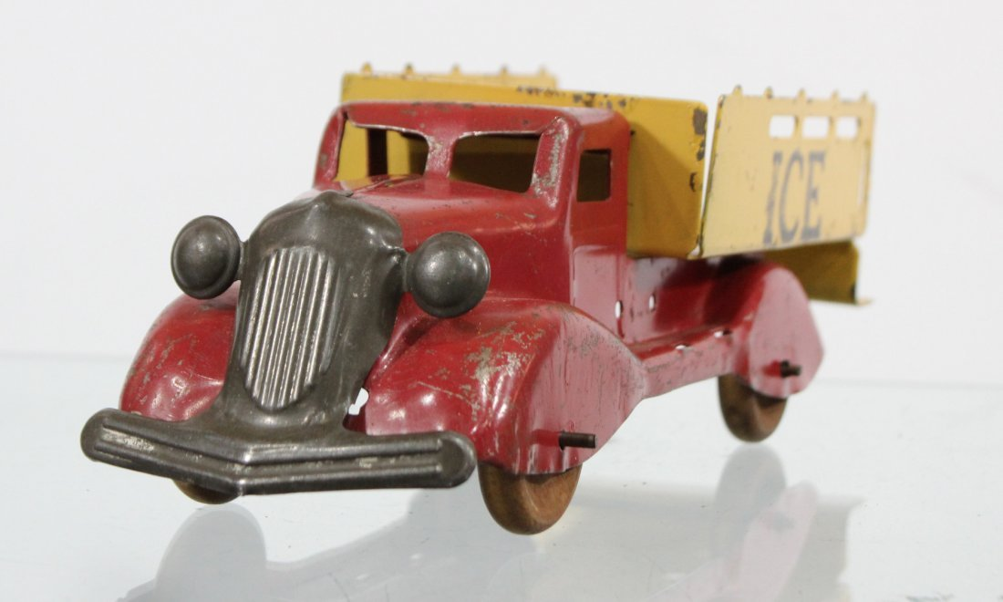 Antique PRESSED STEEL ICE TRUCK Red Yellow - 2