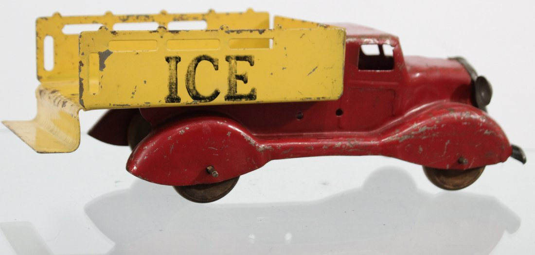 Antique PRESSED STEEL ICE TRUCK Red Yellow - 4