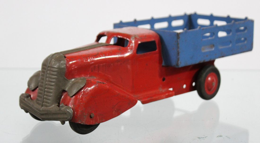 Antique PRESSED STEEL STAKE BED TRUCK Red Blue - 2