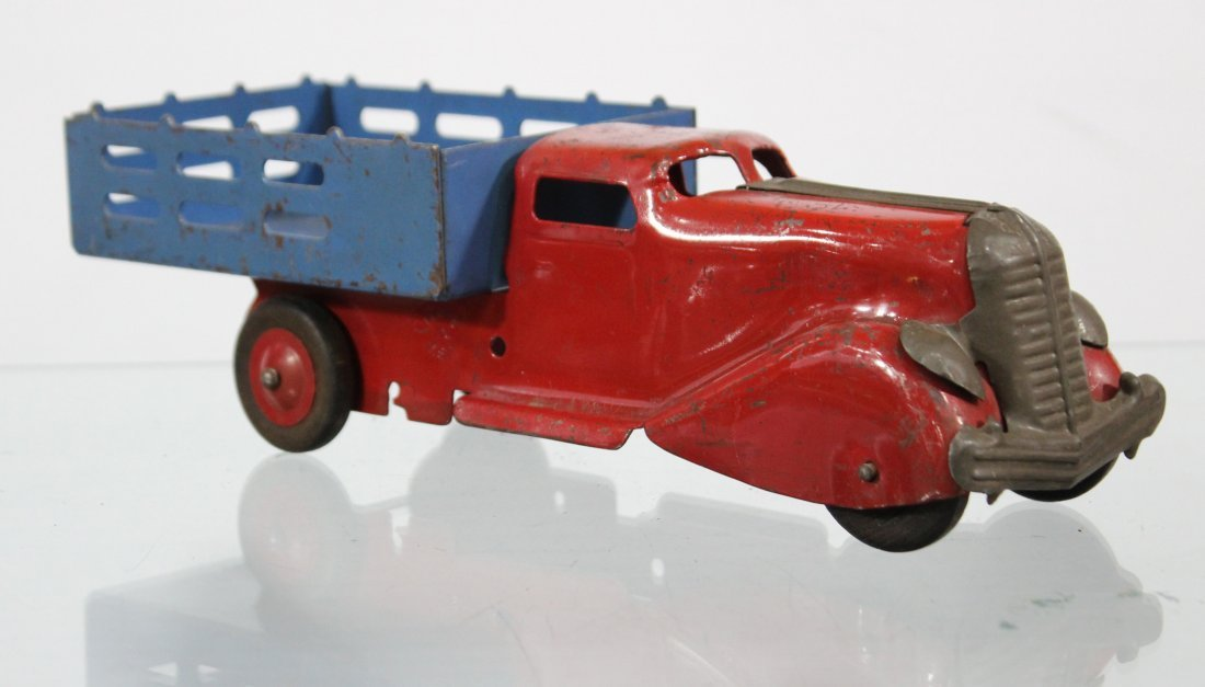 Antique PRESSED STEEL STAKE BED TRUCK Red Blue - 3