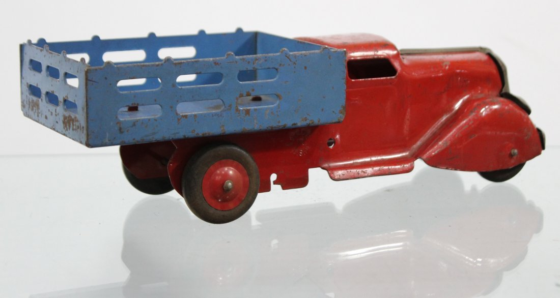 Antique PRESSED STEEL STAKE BED TRUCK Red Blue - 4