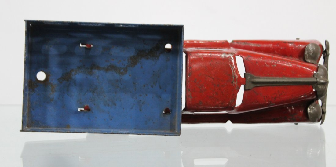 Antique PRESSED STEEL STAKE BED TRUCK Red Blue - 5