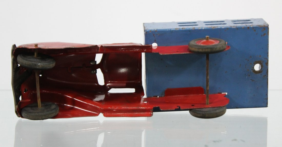 Antique PRESSED STEEL STAKE BED TRUCK Red Blue - 6
