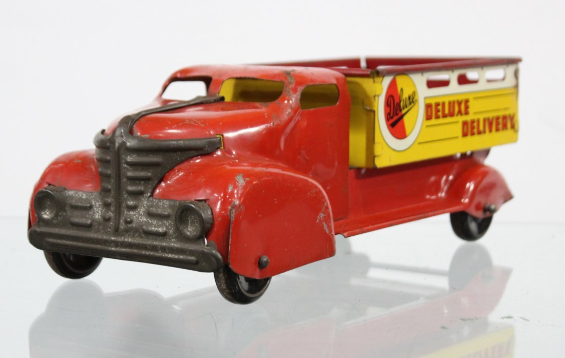 Antique DELUXE DELIVERY PRESSED STEEL TRUCK - 2