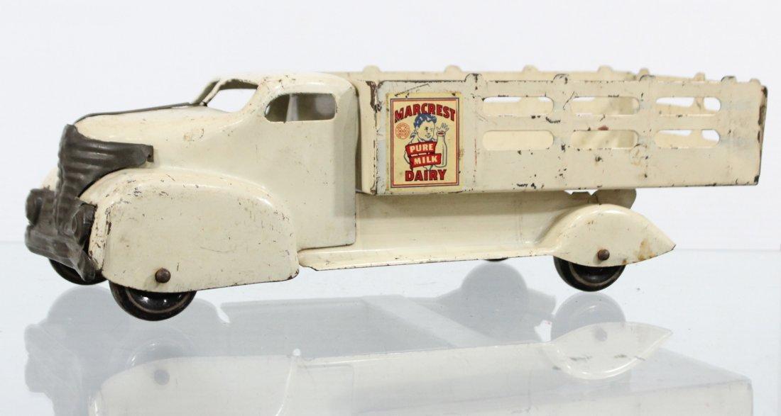 Antique MARX MARCREST MILK DAIRY PRESSED STEEL TRUCK