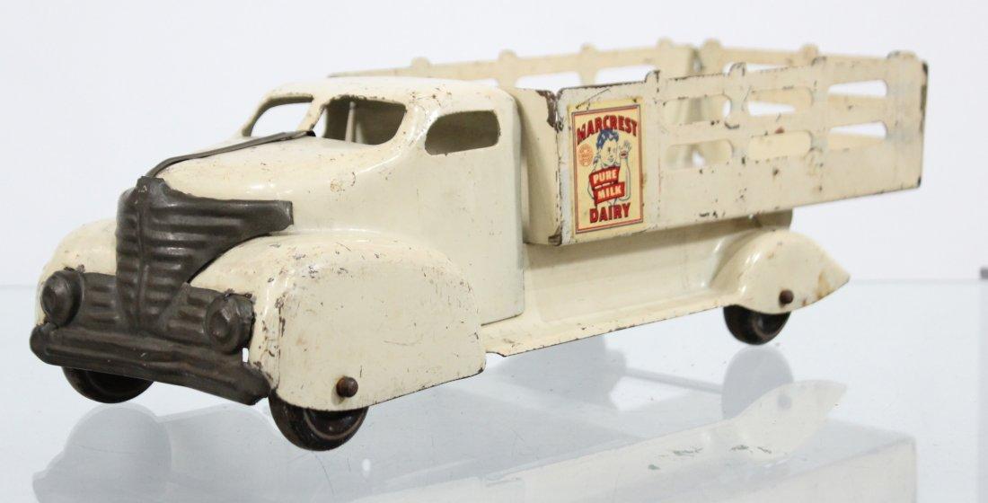 Antique MARX MARCREST MILK DAIRY PRESSED STEEL TRUCK - 3