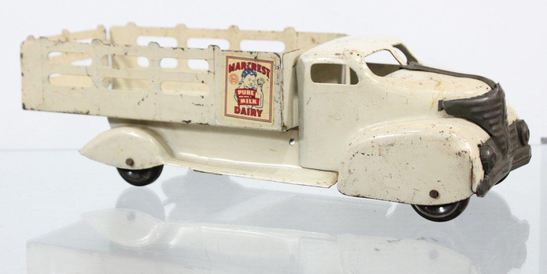 Antique MARX MARCREST MILK DAIRY PRESSED STEEL TRUCK - 4