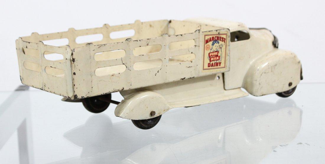Antique MARX MARCREST MILK DAIRY PRESSED STEEL TRUCK - 5
