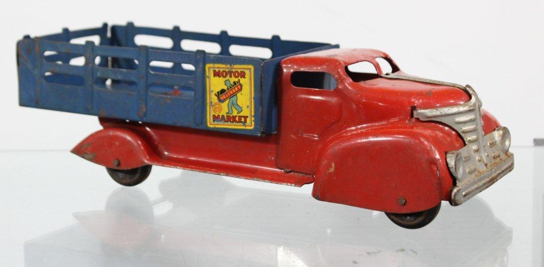 Antique MARX MOTOR MARKET DELIVERY PRESSED STEEL TRUCK