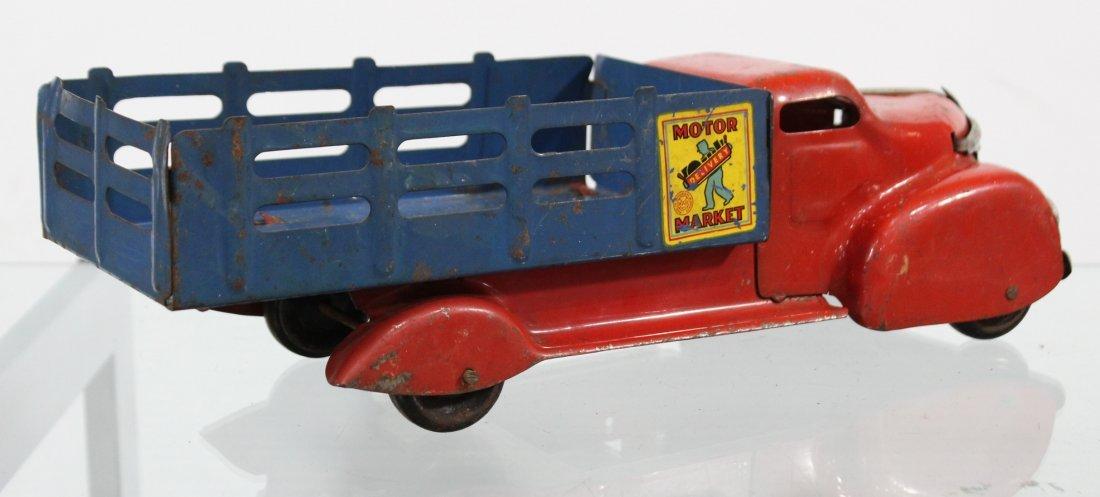 Antique MARX MOTOR MARKET DELIVERY PRESSED STEEL TRUCK - 2