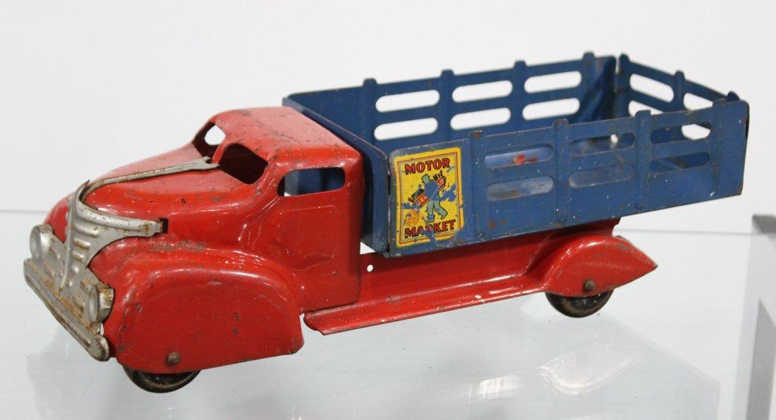 Antique MARX MOTOR MARKET DELIVERY PRESSED STEEL TRUCK - 5