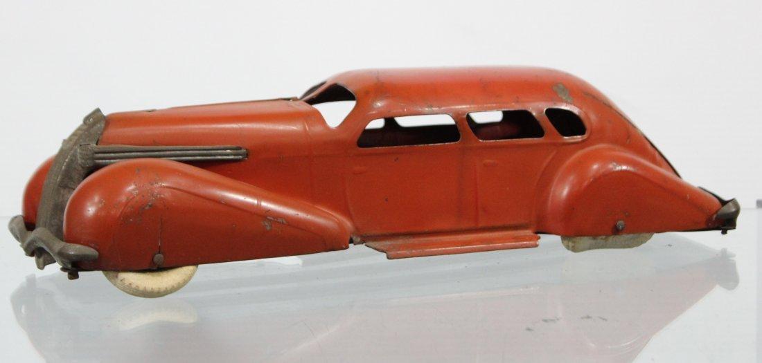 Antique PRESSED STEEL LONG SLEEK STREAMLINED RED CAR