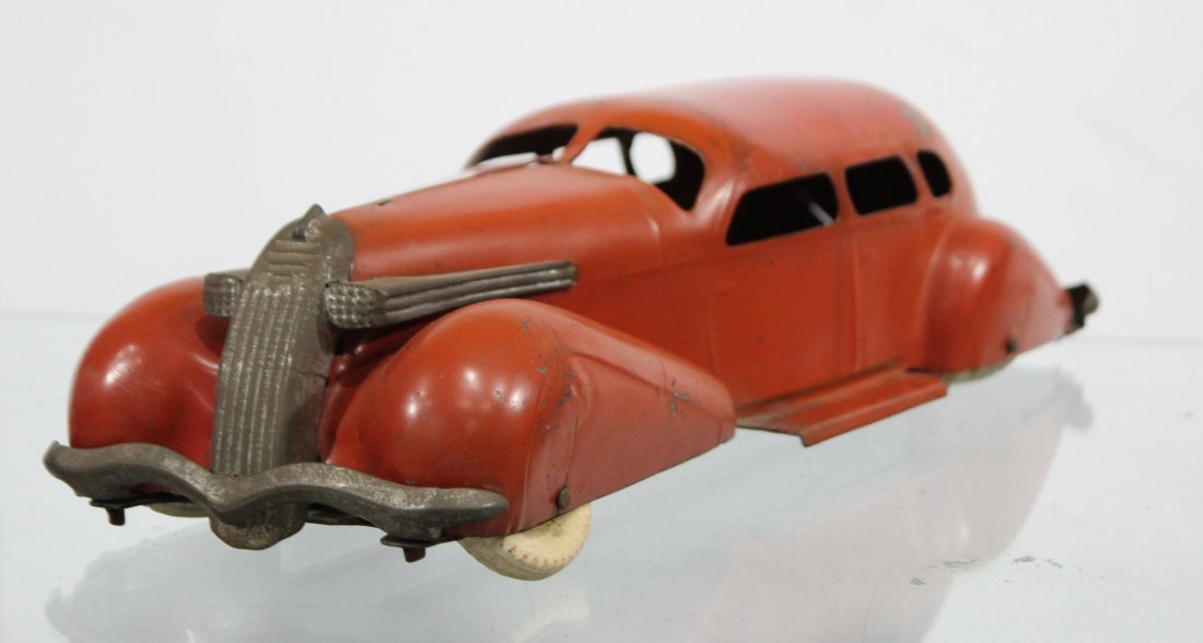 Antique PRESSED STEEL LONG SLEEK STREAMLINED RED CAR - 2
