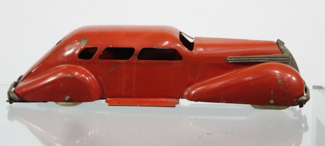 Antique PRESSED STEEL LONG SLEEK STREAMLINED RED CAR - 4
