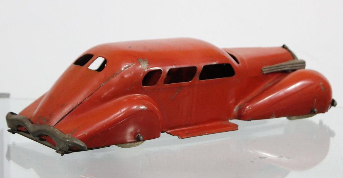 Antique PRESSED STEEL LONG SLEEK STREAMLINED RED CAR - 5