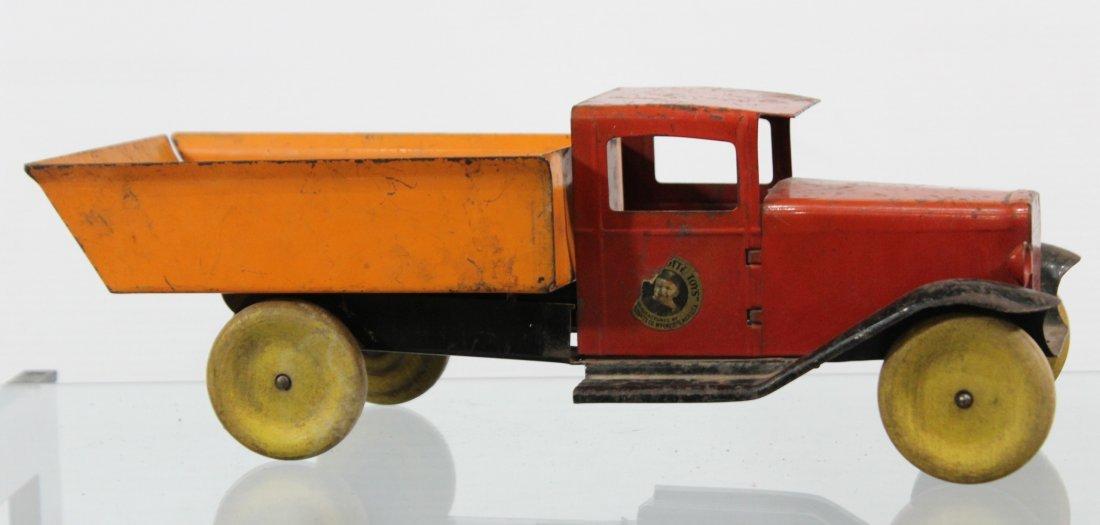 Antique WYANDOTTE PRESSED STEEL DUMP TRUCK Red Orange
